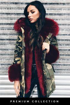 Vanessa Wine Faux Fur Cuffed Camo Parker Jacket