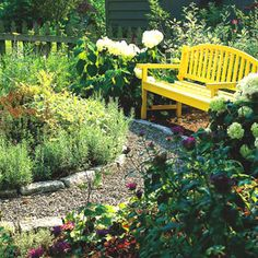 Garden Path Ideas: Gravel Walkways leading to this bench... love the bright yellow