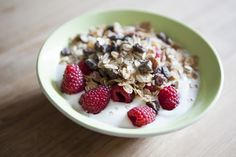 Calcium, potassium, and magnesium are all found in dairy — making this breakfast staple a stress-free way to start your morning. Another bonus: One cup of raspberries packs a whopping 8g of fiber, which will keep you satisfied, longer.  - GoodHousekeeping.com