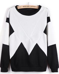 White Contrast Black Geometric Print Sweatshirt zł70.95
