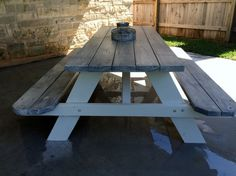 Painted my bare $99. picnic tables from Lowe's with white exterior paint and Rust-Oleum  Weathered Gray stain on top.  Finished it off with Minwax Clear Paste Wax.  Love!