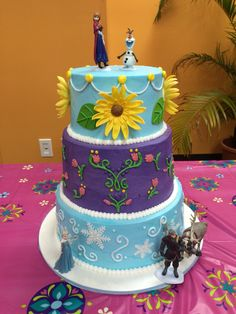 Frozen/ frozen fever birthday cake. Facebook.com/sweetkreationsbybecky