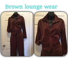 """Pretty brown jogging suit Excellent condition. Drawstring waistband jacket zips up front. Inseam 28"""" Pants"""