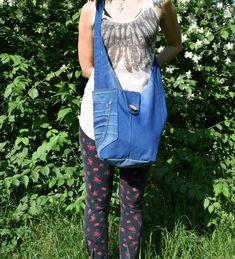 Denim Hobo bag / Blue denim handbag / Recycled Hobo by PrettyMarry