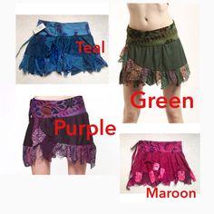 GYPSIE skirt - Assorted colours - PIXIE SKIRT, ethnic goa Skirt, wrap Skirt, elf skirt, Steampunk, Lbsksf