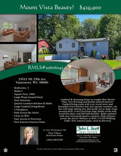 Price Improved! Real Estate for Sale: $429,900-3 Bd/3 Ba Beautiful Two Story Split Level Updated Mount Vista Home on Large .37 Acre Lot at: 15511 NE 25th Ave, Vancouver, Clark County, WA! RMLS 20606045. Listing Broker: Pam Olson (360) 600-6298, John L Scott, Vancouver, WA! #RealEstate #VancouverRealEstate #MountVistaRealEstate #NorthSalmonCreekRealEstate #SplitLevelRealEstate #ThreeBedroomRealEstate #LargeLot #PamOlson #JohnLScott
