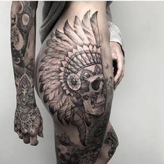 Cool Skull Tattoos For Women – My hair and beauty Skull Thigh Tattoos, Animal Skull Tattoos, Indian Skull Tattoos, Skull Tattoo Flowers, Rose Tattoo Thigh, Body Art Tattoos, Bum Tattoo Women, Hip Tattoos Women, Tattoos For Guys