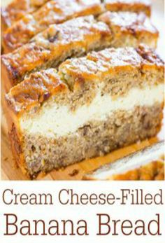 Cream Cheese Filled Banana Bread!!! #Food #Drink #Trusper #Tip
