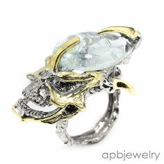 Anitque Design Natural Aquamarine 925 Sterling Silver Ring Size 9.25/R34605 #APBJewelry #Ring