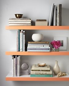 Colorful Paint Accents - Martha Stewart Home & Garden Paint the edge of shelves in a bright color.