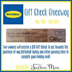 Save some money on your Thanksgiving turkey expenses this year with this giveaway - enter to win a $20 Butterball Turkey Check! Details at GotGiveaways.com.