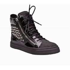 Giuseppe Zanotti shoes High Top Leather And Suede Studded Sneakers... ❤ liked on Polyvore