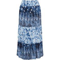 Studio Dark-Blue / Light-Blue Plus Size Batik print maxi skirt (640 CNY) ❤ liked on Polyvore featuring skirts, plus size, maxi skirts, womens plus size skirts, light blue long skirt, women's plus size maxi skirts and plus size long maxi skirts