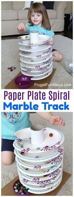 to Build a Paper Plate Spiral Marble Track How to Build a Paper Plate Spiral Marble Track - The marbles spin around and around down to the bottom!How to Build a Paper Plate Spiral Marble Track - The marbles spin around and around down to the bottom! Toddler Fun, Toddler Crafts, Kids Crafts, Arts And Crafts, Crafts For Children, Decor Crafts, Crafts For Babies, Children Games, Paper Plate Crafts For Kids