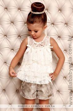 Conjunto Infantil BLUSA Com SHORTS Miss Cake  Doce Princesa 530310