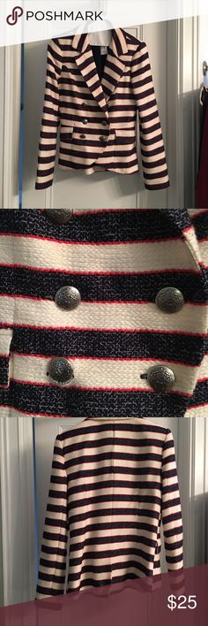 Tweed Nautical Blazer This white, blue and red striped bazar is extra fun. This nautical Blazer makes a statement Jackets & Coats Blazers