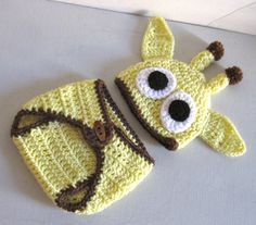 Baby Hat and Diaper Cover yellow and brown by DosCraftySisters, $25.00