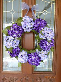 Decorative Hydrangea Wreath  wreath  door by JulieButlerCreations