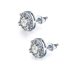 FREE Shipping Today on All Orders ! Round Zirconia 925 Sterling Silver White Stone Earrings