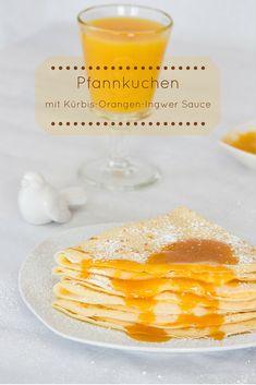 Pfannkuchen mit Kürbis-Orangen-Ingwer Sauce   Zutaten  Pfannkuchenteig (für ca. 8-10 Stück): 150 g Mehl 2 Eier 250 ml Milch eine Prise Salz 100 ml Sprudelwasser Butter oder Öl zum Braten  Füllung 300 g Kürbis (geschält, gewürfelt und ohne Kerne) 100 g Quark  Für die Sauce 250 ml Orangensaft 1 EL Honig 15 g frisch geriebener Ingwer