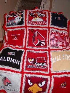 Ball State University t-shirt blanket.