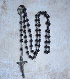 Vintage Rosary with Swift and Fisher Sterling Hallmark on