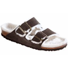 New Birkenstock Arizona Shearling Mocha Natural Suede N Womens Sandals -- You can get additional details at the image link. Strappy Shoes, Suede Sandals, Black Sandals, Shoes Sandals, Clogs Shoes, Two Strap Sandals, Monk Strap Shoes, Women's Mules & Clogs, Suede Leather Shoes