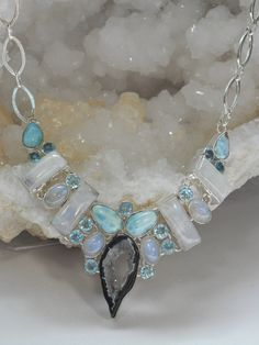 Rainbow Moonstone and Blue Topaz Necklace with Larimar and CoCo Geode