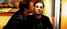 Sebastian Stan #getting kissed by RDJ I am so done>>> I laughed harder than I should've