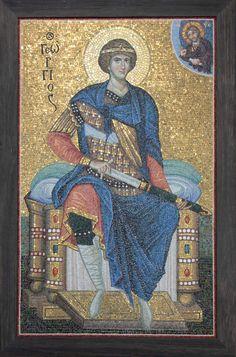 The Holy Great Martyr George. Byzantine Icons, Byzantine Art, Mosaic Artwork, Mosaic Flowers, Orthodox Icons, Saint George, Angel Art, Sacred Art, Religious Art