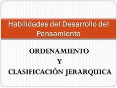 ORDENAMIENTO Y CLASIFICACIÓN JERARQUICA CLASIFICACIÓN JERARQUICA Habilidades del Desarrollo del Pensamiento.