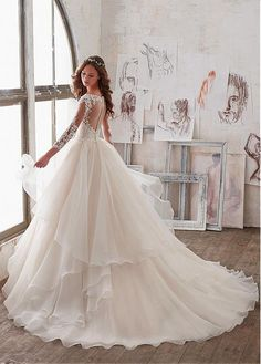 Buy discount Lavish Tulle & Organza V-Neck A-Line Wedding Dresses With Embroidery & Beadings at Laurenbridal.com Wedding Dress Organza, Bridal Wedding Dresses, Dream Wedding Dresses, Princess Wedding Dresses, 2017 Bridal, Prom Dresses, Organza Bridal, Modest Wedding, Dresses Dresses