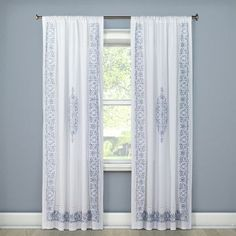 Embroidered Curtain Panel White (54