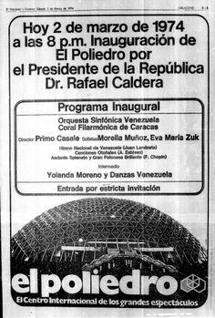 Inauguración del Poliedro de Caracas. Publicado el 2 de marzo de 1974.