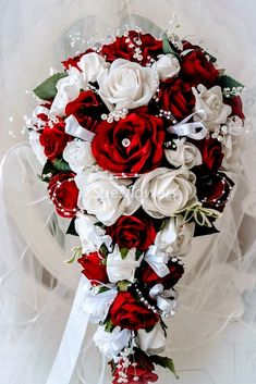 Wedding flowers brides teardrop bouquet in white and red - All About Cascading Wedding Bouquets, Vintage Wedding Flowers, Red Bouquet Wedding, Bride Flowers, White Wedding Flowers, Bride Bouquets, Cascade Bouquet, Wedding White, Red Rose Wedding