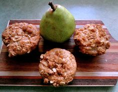 Oatmeal Pear Muffins - anecdotes and apple cores. Great recipe as is or for low sugar version sub sugar with 1/3 cup agave nectar. I sub cardamom for the cloves. I skip the topping because I'm lazy but it does make them very pretty.