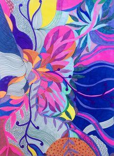 Helen Wells colourful patterned abstract art. #feltips