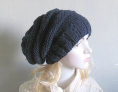 Winter Hat Knit Hat Slouchy Beanie Beanie Black by recyclingroom