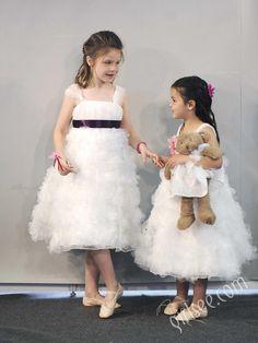 ruffled white a-line tea length flower girl dress