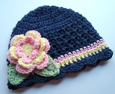 Crochet Baby Hat, Dark Denim Blue Crochet Beanie Hat with Flower, MADE TO ORDER in your size request. $22.00, via Etsy.