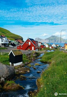 The village of Gjógv in the Faroe Islands Oh The Places You'll Go, Places To Travel, Places To Visit, Beautiful World, Beautiful Places, Visit Faroe Islands, Fjord, Countryside, Destinations