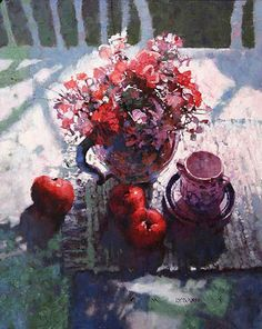 """Bouquet with Apples"" - Michael Dudash, Cool Paintings, Beautiful Paintings, Watercolor Paintings, Watercolor Artists, Abstract Paintings, Painting Art, Painting Still Life, Still Life Art, Art Floral"