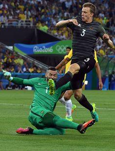 Brazil S Goalkeeper Weverton Pereira Da Silva Clashes With Germany S Defender Rio 2016 Pictures Rio 2016 Photo