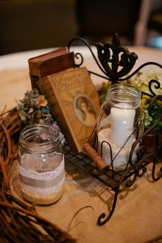 candles and books centerpieces