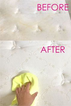 How to clean mattress stains naturally in 10 minutes! Magic DIY green cleaner that completely cleans and refreshes the mattress without bleach! Detailed tutorial with helpful tips on what NOT to do when cleaning a mattress! Also great for cleaning carpet Deep Cleaning Tips, House Cleaning Tips, Spring Cleaning, Cleaning Hacks, Green Cleaning, Diy Hacks, Natural Cleaning Solutions, Cleaning Products, Clean Mattress Stains