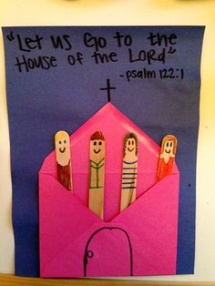 Popsicle Stick Church Craft - send this cute craft to your sponsored child, but fill the envelope with paper dolls to fit within the mailing guidelines