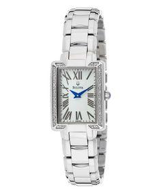 Look what I found on #zulily! Silver & White Mother-of-Pearl Diamond Bracelet Watch - Women by Bulova #zulilyfinds