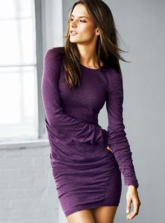 Ruched Crewneck Sweaterdress Victorias Secret.  Love the purple.