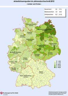 Tasa de desempleo según regiones de Alemania.
