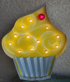 """BIG YUMMY Cupcake Vintage Lighted Marquee...24"""" Wood  Metal Bakery Decor"""